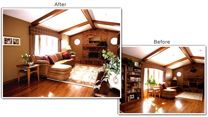 Home Staging of a Family Room in Eden Prairie, MN